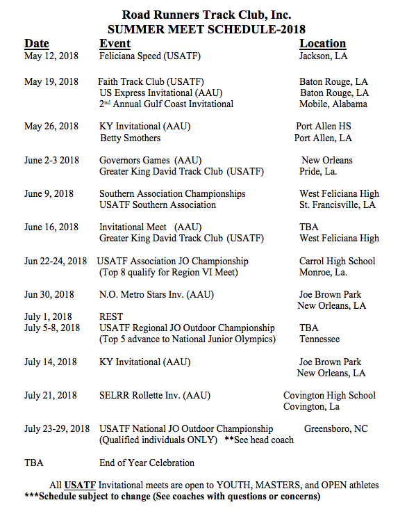 Road Runners Track Club 2018 Summer Meet Schedule